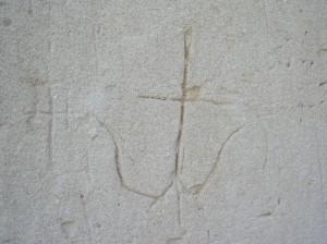 Стародавній княжий тризум на стіні церкви Пантелеймона
