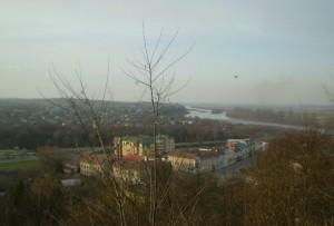 Вид на Галич і Дністер із гори, де споруджений замок