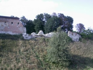 Замкові мури в Галичі - посередині руїни замкового костелу святої Катерини