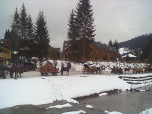 Турбаза Буковель і підводи з конями над річкою