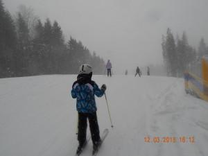 Катання на лижах в снігопад