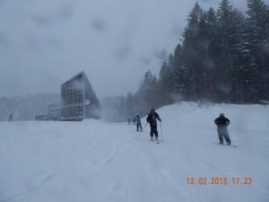 Гірськолижники і снігопад