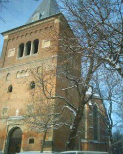 Дзвінниця і костел святого Варфоломія у Дрогобичі на місці князівського городища