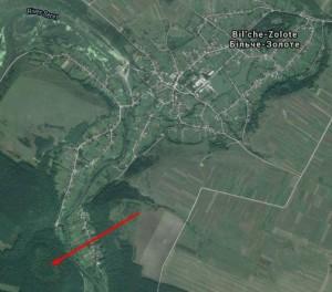 Карта Більче - Золотого, стрілкою позначене місці городища, вали добре видимі