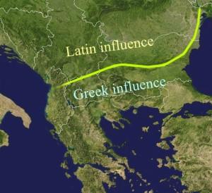 Кордон між латиномовлними і грекомовними римлянами після падіння Західної Римської імперії
