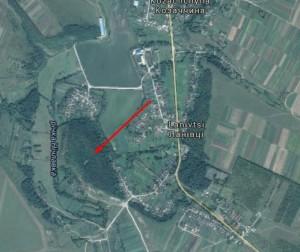 Ланівці із супутника, стрілкою позначено місце, де можливо був замок