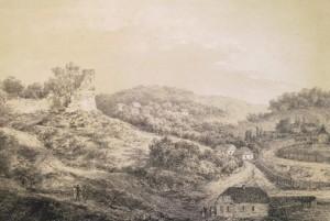 Руїни замку у Ридомлі з гравюри Наполеона Орди