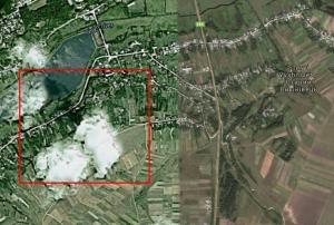 Старий Вишнівець із супутника, у прямокутнику - приблизне місце розташування замчища