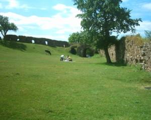 Двір замку у Підзамочку, вдалині - брама