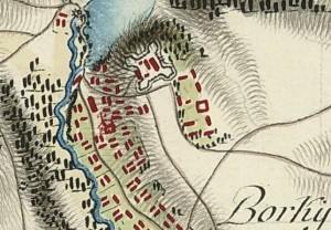 Замок у Великих Борках на карті фон Міга