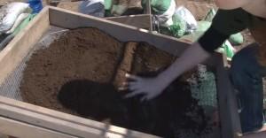 Просіювання землі з розкопу через сито