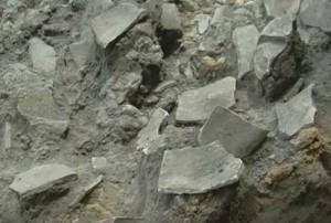 Трипільська кераміка на залишках житла