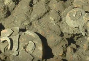 Залишки трипільської кераміки в розкопі