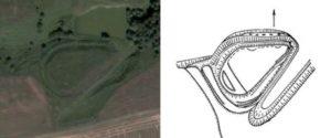 Городище у Великій Снітинці - супутниковий знімок і план