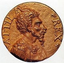 Середньовічна медаль із зображенням Атілли