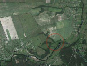 Гіпотетичний район розміщення городища біля села Леніне