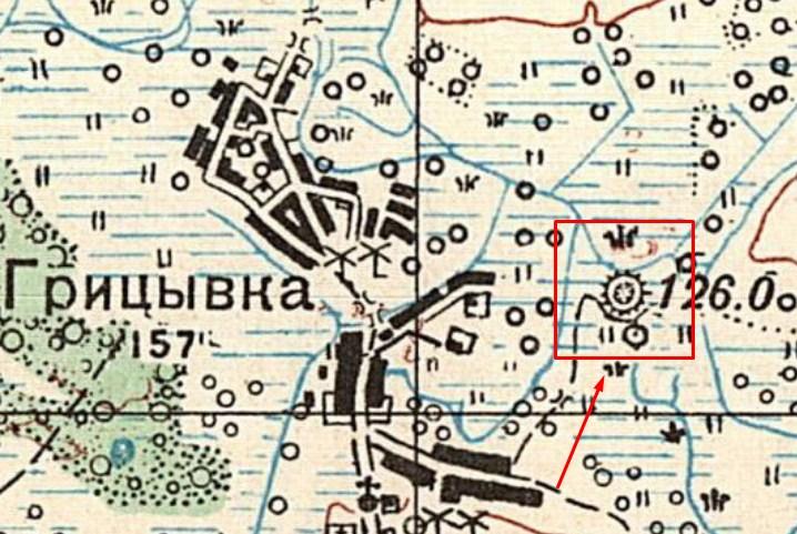 Розміщення городища біля села Грицівка