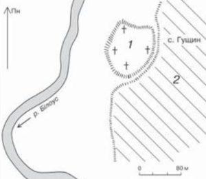 Розміщення городища у селі Гущин