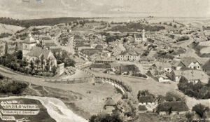 Вид Язловця з замку на старій листівці