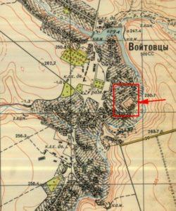Городище на топографічній карті