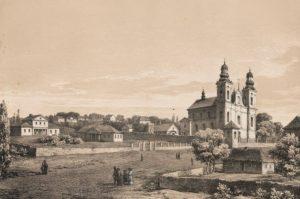 Костел Непорочного Зачаття Діви Марії, літографія Наполеона Орди