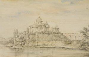 Костел на замчищі, акварель Наполеона Орди