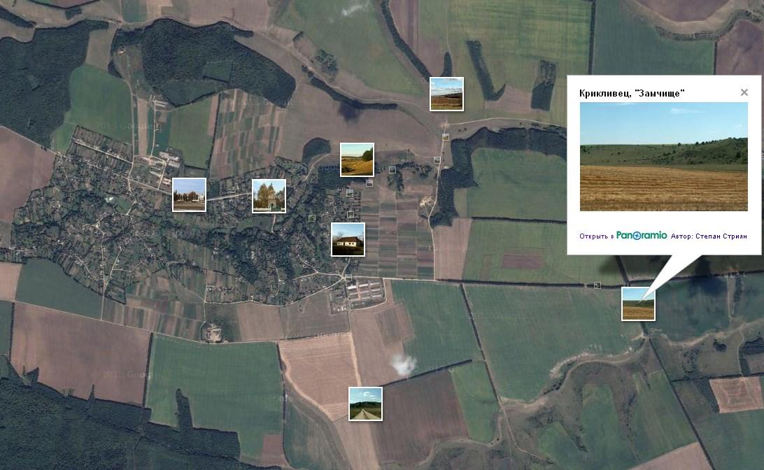 Позначення замчища на супутниковому знімку