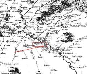 Фортеця у Мартинові на карті Боплана