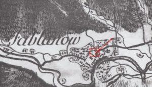 Можливе місце розміщення яблунівського замку, карта фон Міга, 1782 рік