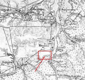 Приблизне місце розміщення городища на карті Шуберта