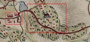 Приблизне розміщення замку та міста на карті фон Міга