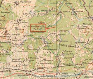 Урочище городище на карті 1935 року