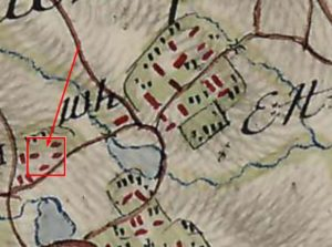 Урочище замок на карті фон Міга, видно чотири муровані будівлі