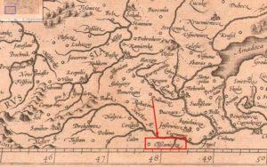 Вільшаниця на карті Меркатора 1595 року