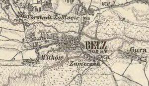 Белз на карті другої половини ХІХ століття