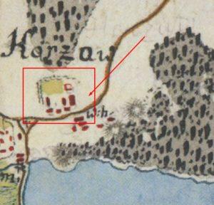 Імовірне розміщення замку на карті фон Міга