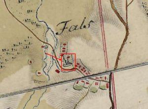 Церква на карті фон Міга 1782 року
