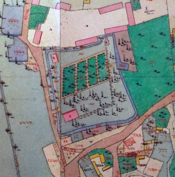 Замок на кадастровій карті середини ХІХ століття