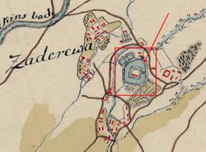 Замок на карті фон Міга 1782 року