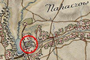 Замок на карті фон Міга 1783 року