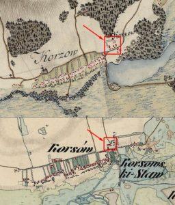 Зверху - карта фон Міга 1782 року, знизу - австрійська карта 1864 року