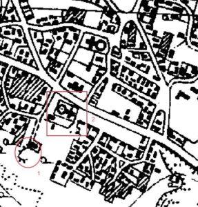 Церква та бастіон на карті 30-х років ХХ століття