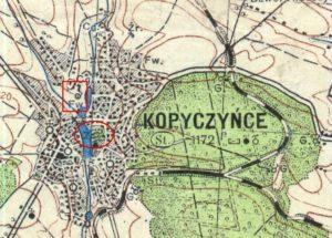 Карта 1942 року, на місці Червоного замку позначено фільварок